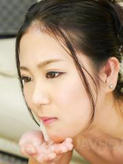 Kyoka Sono Asian with push ups gets cum in mouth from two tools