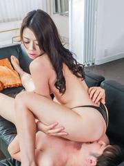 Maki Hojo Asian sucks balls and gets fingers and woody in cooter