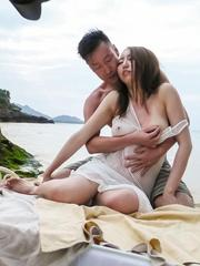 Ruka Ichinose busty is naughty on beach and fucked in hairy twat