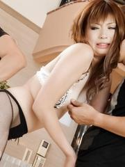 Mami Yuuki Asian licks two tools and is screwed in hot threesome