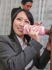 Yuuna Hoshisaki rubs cock with flashlight and gets cum on suit