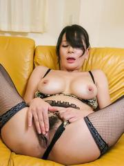 Rei Kitajima with hairy twat licks two tools at once and gets cum