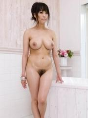 Kyouko Maki Asian sucks dicks and fondles her big boobs with soap