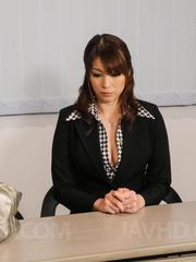 Hitomi Araki Asian is fucked with dildo and rides cock till cums
