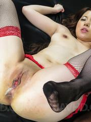 Reika Ichinose Asian licks woody and gets it under red thong