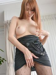 Nami Itoshino sucks vibrator and uses it through crotchless
