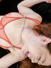 Rei Furuse is fucked through crotchless and gets cum in mouth
