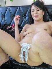 Saya Fujimoto Asian has crack shaved and explored with stick