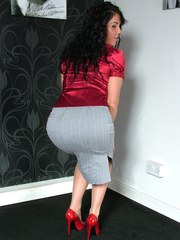 Michelle is silky and sexy with her gorgeous stiletto heels on