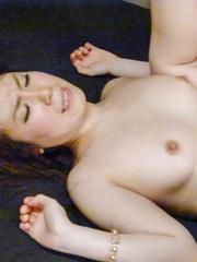 Sakura Ooba Asian has pink beaver and mouth fucked with dongs