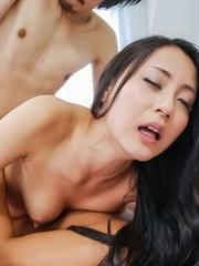 Ren Azumi Asian gets cum in twat and asshole from double teaming