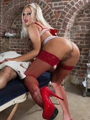 Hot busty blonde Michelle Thorne has opened a Massage Parlour and cant wait to try