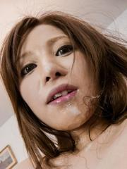 Tsubasa Aihara is aroused through crotchless and gets cum on face
