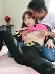 Buruma Aoi Asian is fingered and fucked in vagina by sucked dick