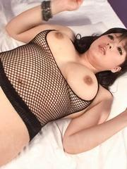 Chihiro Manaka Asian licks nipples of her cans and gets boner on