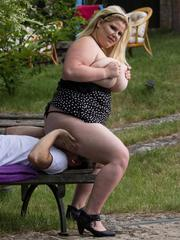 Fat meloned blonde BBW babe sitting on a poor guys face