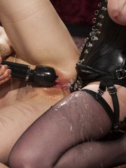 Lilith Luxe is bound and suspended in Veruca James lesbian dungeon.