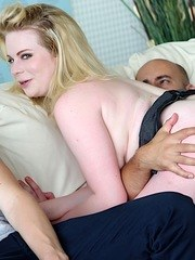 Blonde wife gives a blowjob and get fucked good in front of her husband