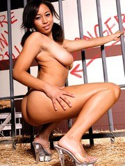 This ebony teen has a playful naked romp in the hay.