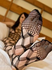 Bryci in the hottest set youll ever see. Body stockings in bed!