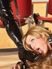 Asian dominatrix owns a blonde girl here