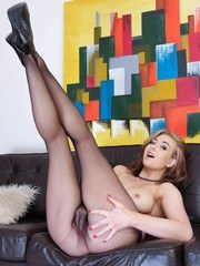 A very sexy Sapphire gets very horny in her seamless sheer black pantyhose in this