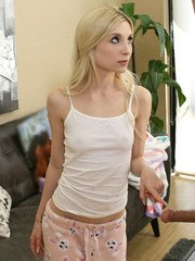 Damon Dice walks in on his stepdaughter Piper Perri doing chores but their quiet