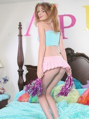 Cute teen Faye Reagan does her best cheer poses