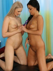 Gorgeous babes enjoy toy play and piss drinking