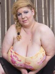 This naughty BBW loves showing off her huge breasts