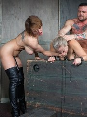 Big titted slut is double fucked while bound by a muscley sex beast and and hot Domme!