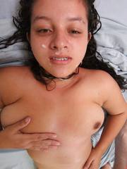 Chubby Filipinas fat hairy pussy fucked and face creamed by white tourist