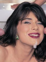 Blue eyed slut enjoys a DP and ends up all covered in cum