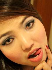 Stunning Thai uses her pretty mouth and deep pussy to drain white cock of cum