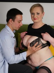 Chubby mom fucking and sucking her younger lover