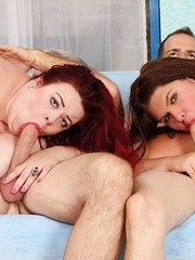 Two sexy plumpers give blowjobs to their buddies and then both the pussies gets fucked