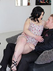 Swinger wife gives a blowjob and get fucked before her hubby and another girl