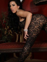 Brianna Jordan models her sexy black body stocking showing just how perfectly it