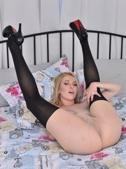 Get one hot blonde in fancy designer pantyhose and you get plain nylon enjoyment!