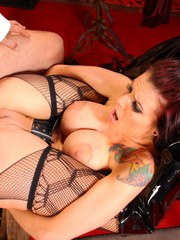 Busty redhead babe Sea J. Raw sucking cock and getting a wild and kinky sex