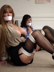 Two Secretaries Big Boobs Reveal While In Bondage