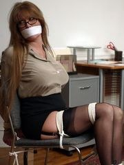 Two Busty Secretaries Rob And Bondage