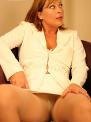 Alischa got turned on because her co-workers kept staring at her pantyhosed legs
