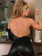 Farrah Foxxx strips from her tight black crotchless bodysuit and shows off her ripped