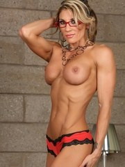 Secretary Abby Marie strips and shows off her fit ripped up body totally nude.