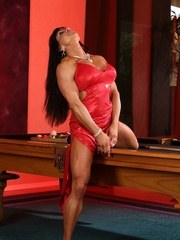 Bodybuilder Marina Lopez strips off her red dress and poses her shredded body.
