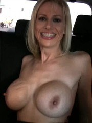 Big-boobed blonde babe Kylie Worthyhas a blast flashing unsuspecting drivers on a