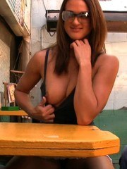 Misty Anderson loves being naughty for the camera in public! Check out her flashing