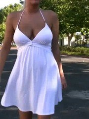 Beautiful Riley Evans has fun flashing her pussy and boobs in public!