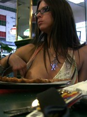 Rachel Roxxx has fun flashing her pussy and boobs at lunch!